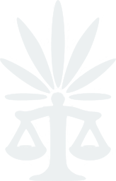 A logo displaying a cannabis leaf above a set of traditional scales (the scales of justice)